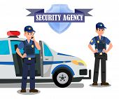 Security Agency Officers Task Banner Template. Bodyguards and Police Car Flat Vector Illustration. Security Agency Isolated Emblem with Lettering. Equipped Policemen Cartoon Characters poster