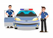 Police Officers with Walky Talky Cartoon Character. Bodyguards and Police Car Flat Vector Illustration. Security Service. Policemen on Mission Color Drawing. Guardians Isolated Design Element poster