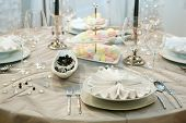 Table setting for elegant wedding dinner poster