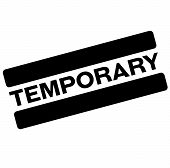 temporary black stamp, sticker, label on white background poster