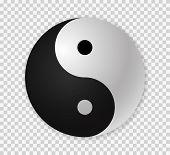 Yin yang icon.  Ying yang 3d symbol . poster