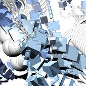 futuristic abstraction, three-dimensional composition poster