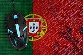 Portugal flag  and computer mouse. Digital threat, illegal actions on the Internet poster