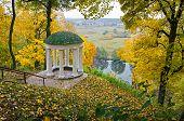 Hlibov's romantic arbor in Lyzohub Manor on the background of the autumn park  in Sedniv. Chernihiv region. Ukraine. Horizontal outdoors shot. poster