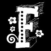scribble ABC, hand drawn letter F poster