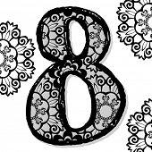 openwork numerals, doodle number eight poster