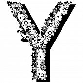 black and white floral ABC, letter Y poster