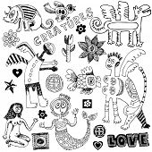 crazy childlike doodles, hand drawn design elements isolated on white background poster