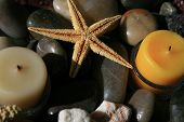 Sea Star with candles on top of diferent color and texture rocks and coral poster