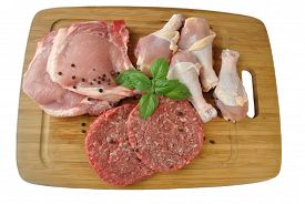 Raw Beef, Pork, And Chicken On A Cutting Board