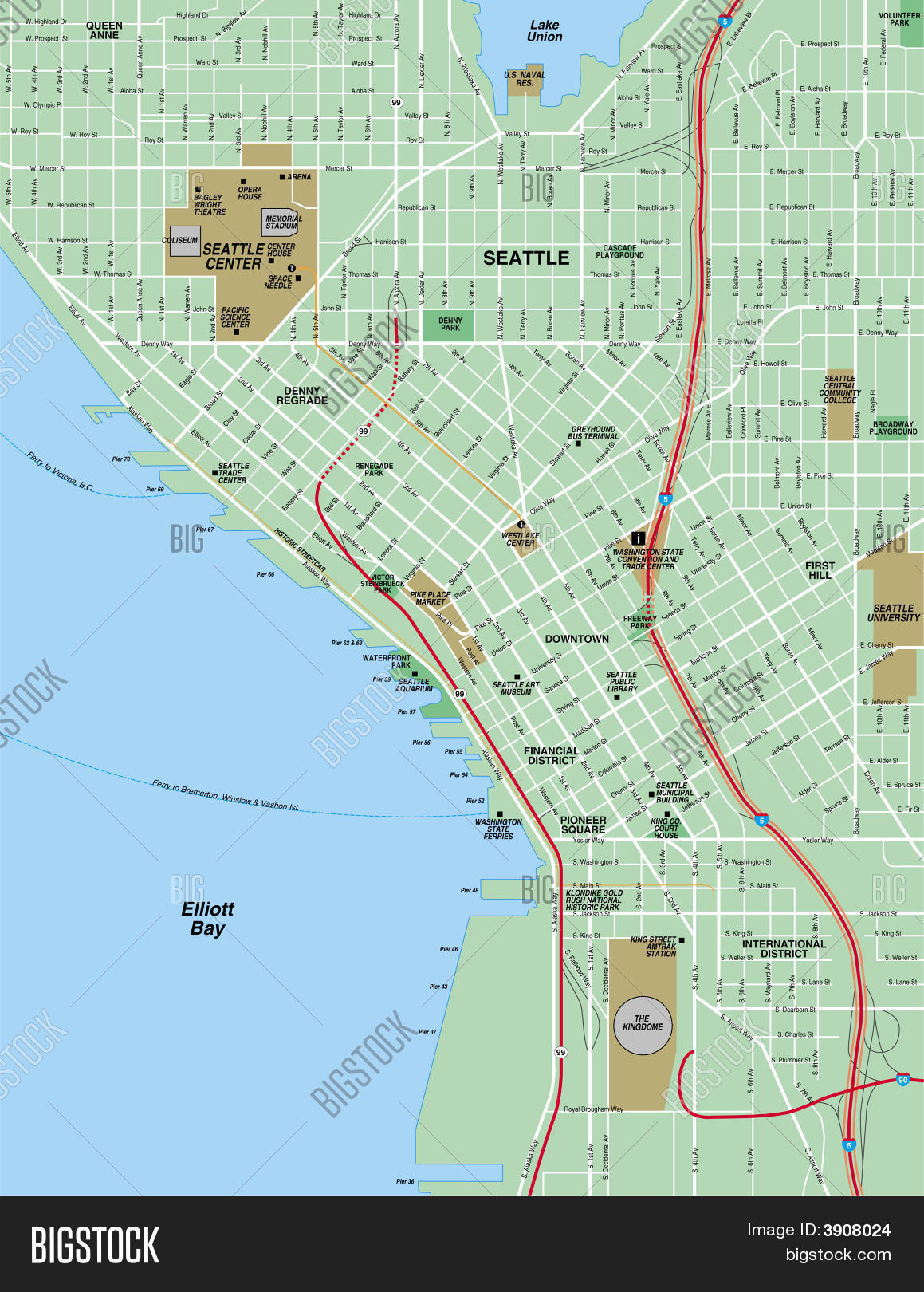 Downtown Seattle Map Image & Photo (Free Trial) | Bigstock on