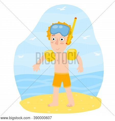 Boy In Inflatable Armbands Learns To Swim. Red Hair Child Plays On Beach. Mask For Underwater Diving