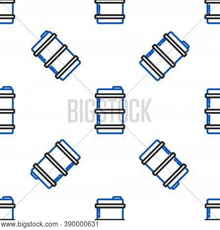 Line Metal Beer Keg Icon Isolated Seamless Pattern On White Background. Colorful Outline Concept. Ve