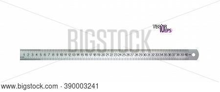 Top View Realistic Metal Centimeters Ruler, Measuring Tool Isolated On White Background. 40 Sm, Cm,