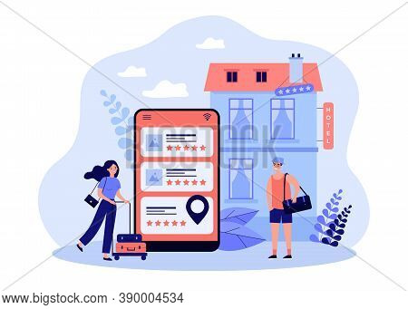 Tiny Tourists Booking Hotel Online Flat Vector Illustration. Abstract Search Or Choice Of Hostel And