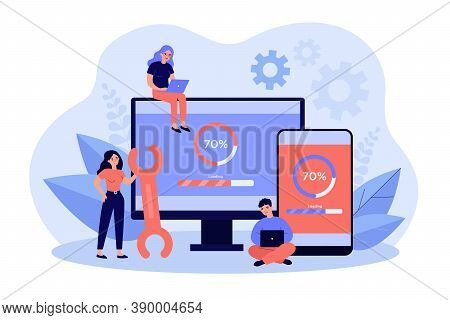 Tiny People Updating Operation System Of Computer Isolated Flat Vector Illustration. Cartoon Charact