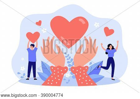Hands Holding Heart Symbol Flat Vector Illustration. Happy Cartoon People Giving Love Or Hope And Do