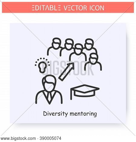 Diversity Mentoring Line Icon. Multicultural, Inclusive Mentoring. Training Workshop. Guidance Consu