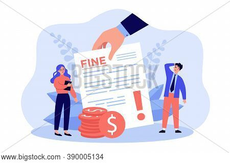 Sad Tiny People Getting Punishment Notice Flat Vector Illustration. Man And Woman Paying Traffic Bil