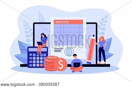 Tiny Accountants Working On Computer Invoice Isolated Flat Vector Illustration. Cartoon Characters P