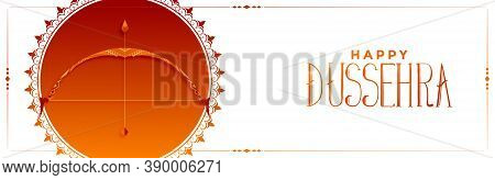 Indain Happy Dussehra Occasion Banner With Bow And Arrow Vector