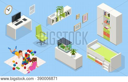 Isometirc Interior Furniture For Modern Teenager Room Interior With Comfortable Bed. Idea For Interi
