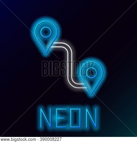 Glowing Neon Line Route Location Icon Isolated On Black Background. Map Pointer Sign. Concept Of Pat