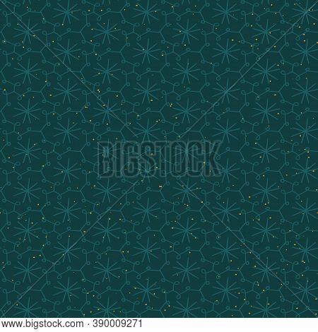 Teal Starry Sky And Doodle Grid Seamless Vector Pattern. Surface Print Design For Fabrics, Stationer