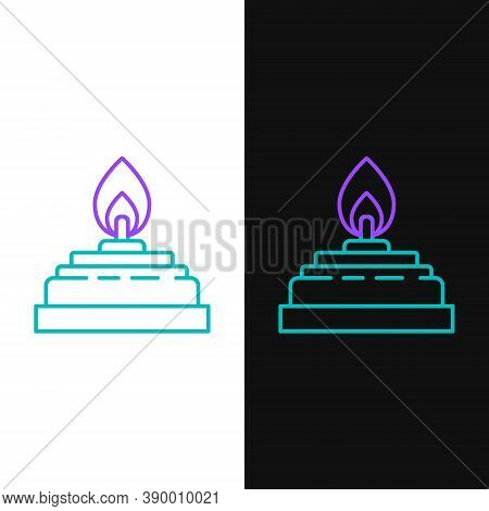Line Alcohol Or Spirit Burner Icon Isolated On White And Black Background. Chemical Equipment. Color