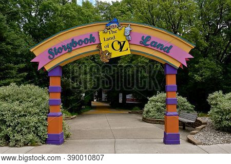 Aberdeen, South Dakota, August 7, 2020: Storybook Land Or Land Of Oz, A Childrens Park Is Located At