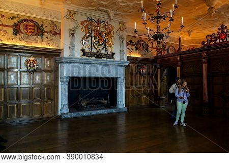 Edinburgh, Great Britain - September 10, 2014: This Is A Huge Fireplace, Decorated With The Royal Co