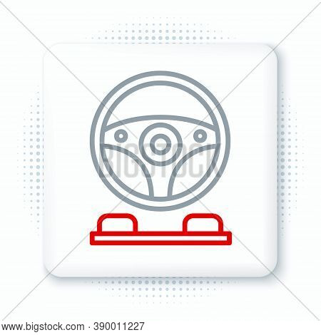 Line Racing Simulator Cockpit Icon Isolated On White Background. Gaming Accessory. Gadget For Drivin