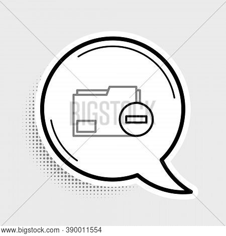 Line Document Folder With Minus Icon Isolated On Grey Background. Clear Document. Remove File Docume