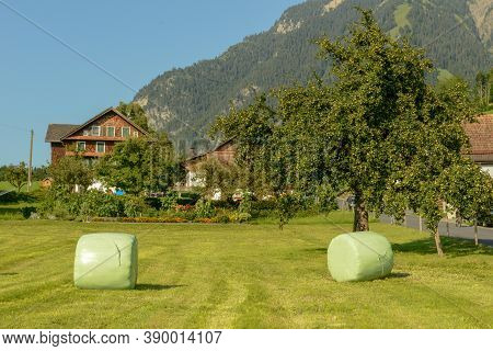Farm House At The Rural Village Of Sand In The Swiss Alps