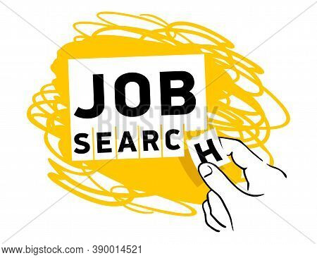 Job Search Concept Stylized As Tear-off Paper Ads And Drawn Hand - Creative Unique Icon For Hr, Recr