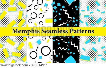 Set Of Memphis Seamless Pattern. Fun Background. Trendy Colors. Memphis Style Patterns. Vector Illus