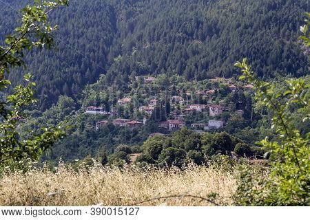 Rural Landscape. Little Village In The Mountains Of District Achaea On A Sunny, Summer Day. (greece,