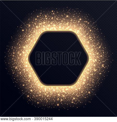 Golden Hexagon Frame With Sparkles And Flares, Abstract Luminous Particles, Background With Bright S