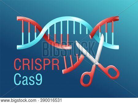 Crispr Cas9 - Gene Editing System - Dna Spiral Cutting By Scissors - Vector Conceptual Illustration