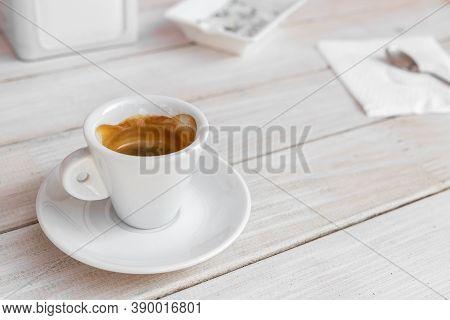 Warm Tasty Rich Italian Black Espresso Coffee Cup In White Mug On Vintage Biege Wooden Rerto Style T