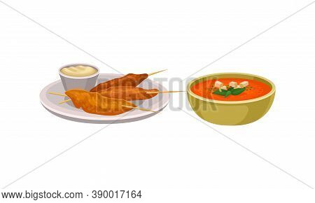 Gazpacho Or Cold Soup Of Tomatoes And Skewered Seafood As Spanish Cuisine Dish Served In Bowl Vector