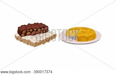 Pie With Savory Stuffing Served On Plate And Turron Dessert As Spanish Cuisine Vector Set