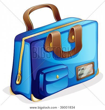 illustration of a blue bag on a white background