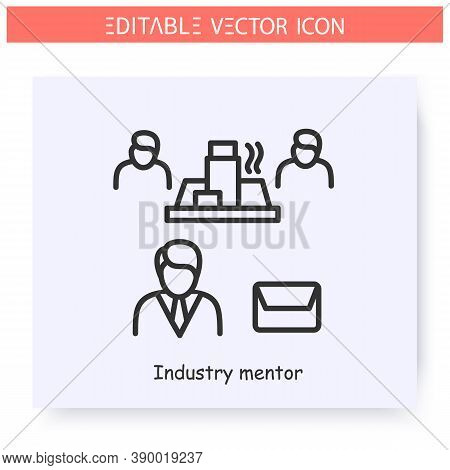 Industry Mentor Line Icon. Production Process Mentoring. Manufacture Director. Guidance Consulting I