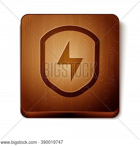 Brown Secure Shield With Lightning Icon Isolated On White Background. Security, Safety, Protection,