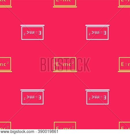 Yellow Math System Of Equation Solution On Chalkboard Icon Isolated Seamless Pattern On Red Backgrou