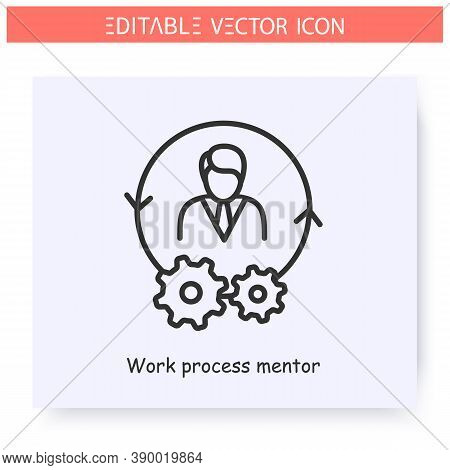 Work Process Mentor Line Icon. Supervision Mentor. Work Cycle Management. Guidance Consulting In Bus