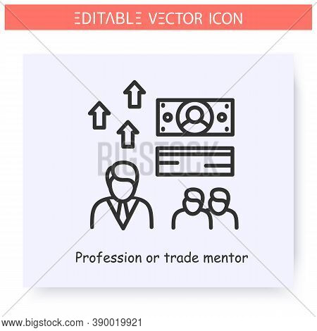 Trade Mentor Line Icon. Financial Consultant. Trades Specialist. Head Of Sales. Guidance Consulting