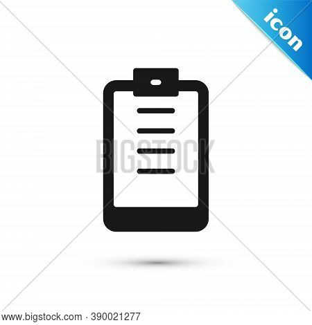 Grey Clipboard With Checklist Icon Isolated On White Background. Control List Symbol. Survey Poll Or