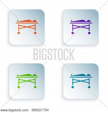 Color Dead Body In The Morgue Icon Isolated On White Background. Set Colorful Icons In Square Button